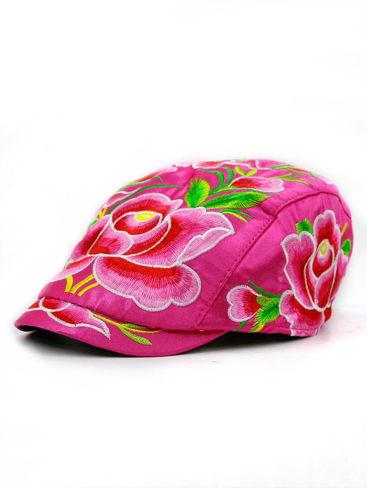 Lotus Flower Embroidered Ivy Hat - NEON PINK