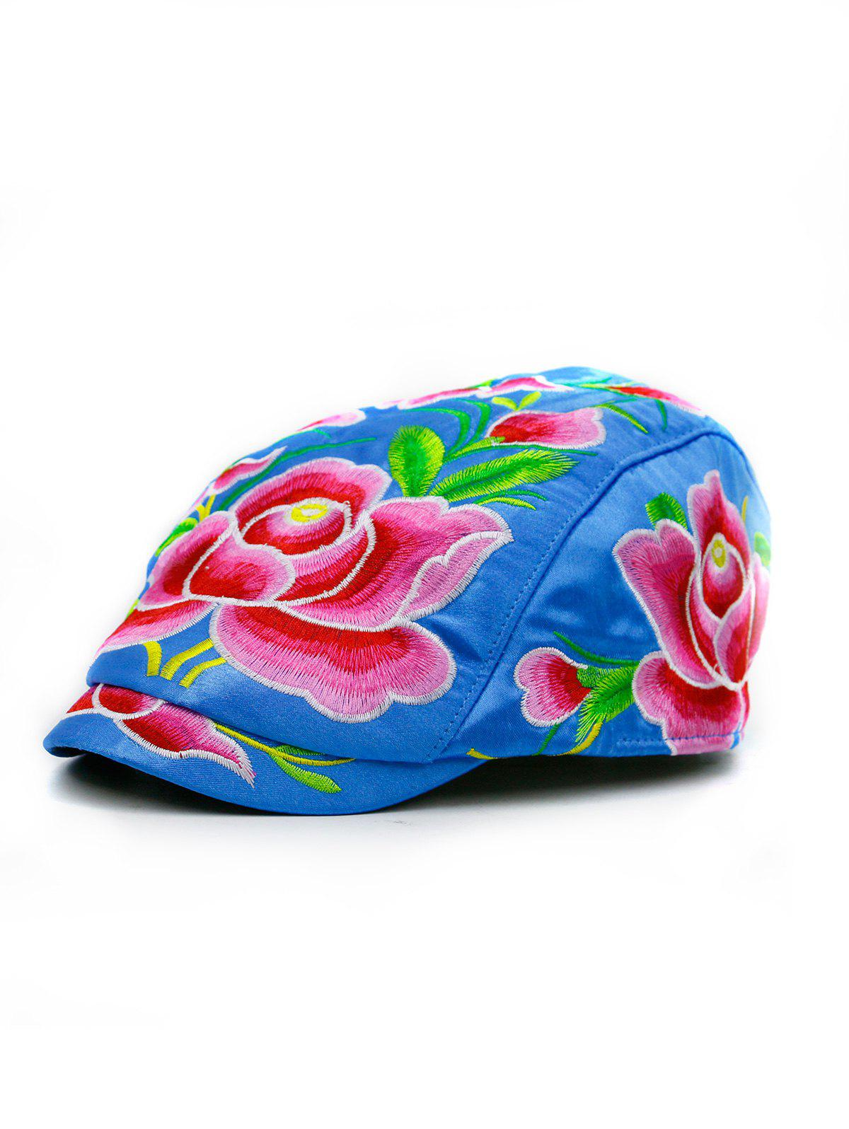 Lotus Flower Embroidered Ivy Hat - SKY BLUE