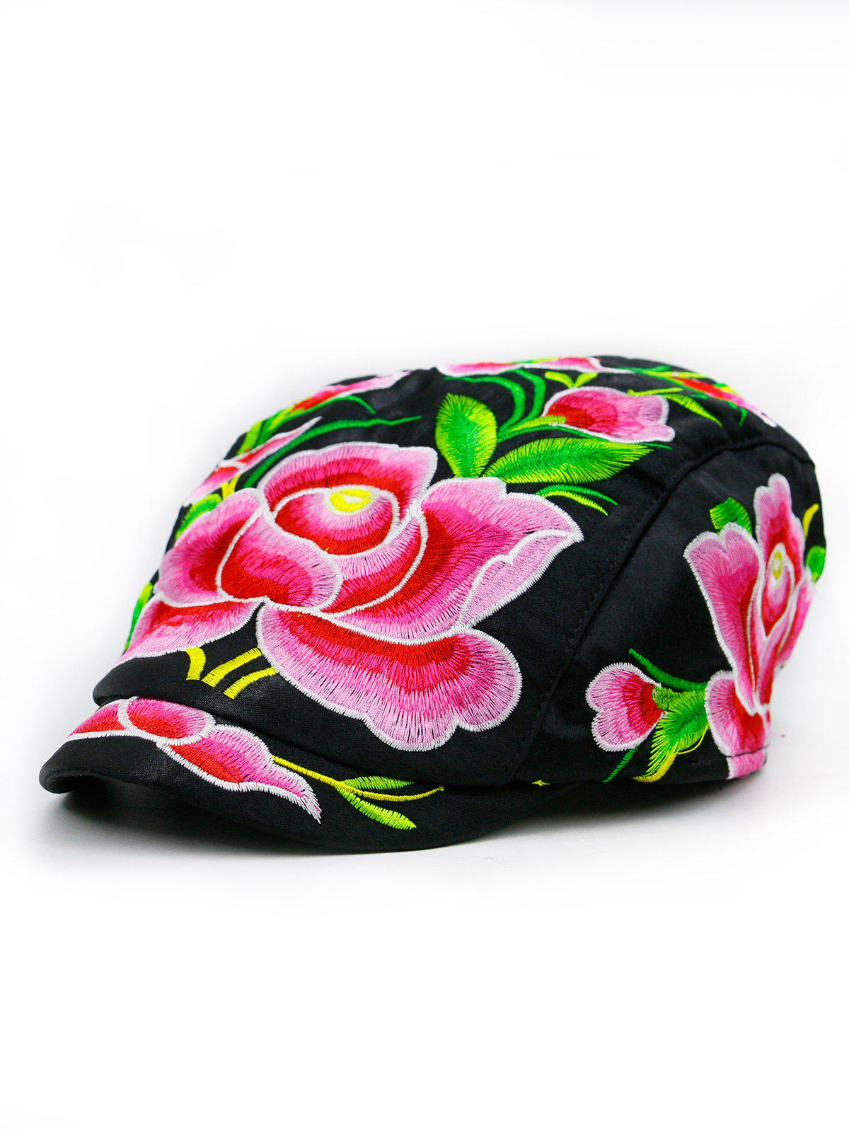 Lotus Flower Embroidered Ivy Hat - BLACK