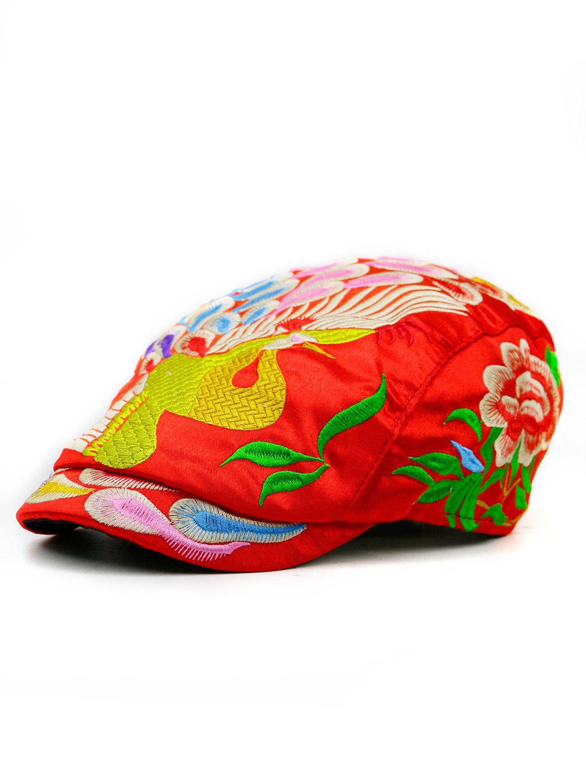 Peacock Embroidered Ivy Hat - RED