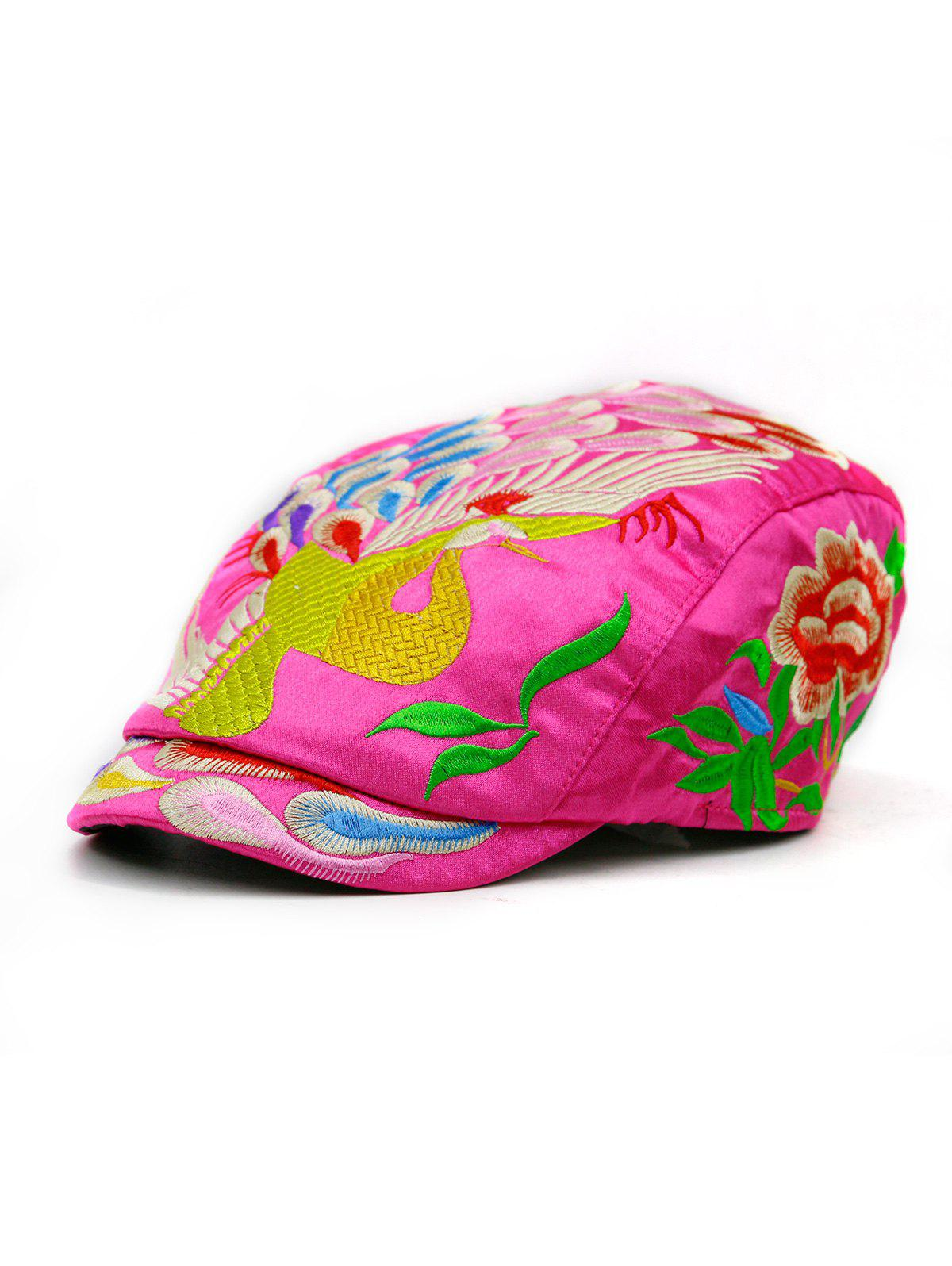 Peacock Embroidered Ivy Hat - DIMORPHOTHECA MAGENTA