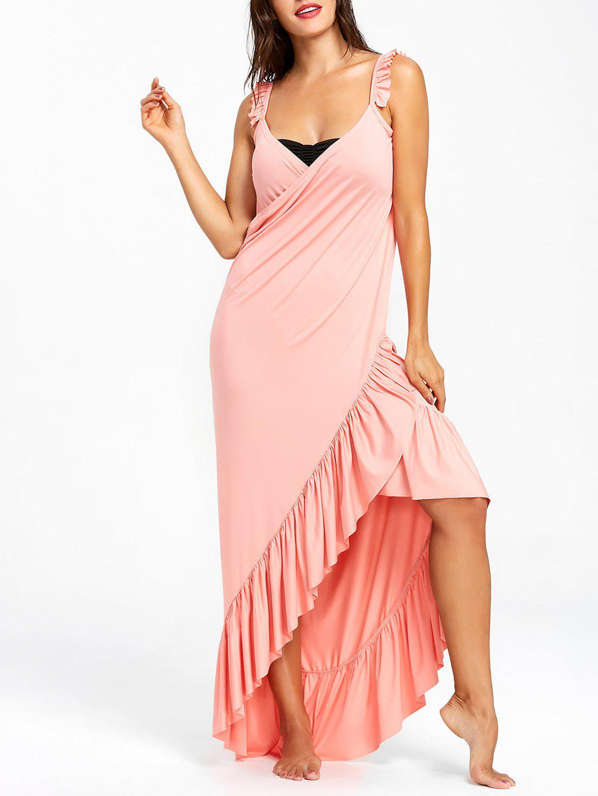 Wrap Flounce Beach Cover Up Dress - LIGHT PINK M