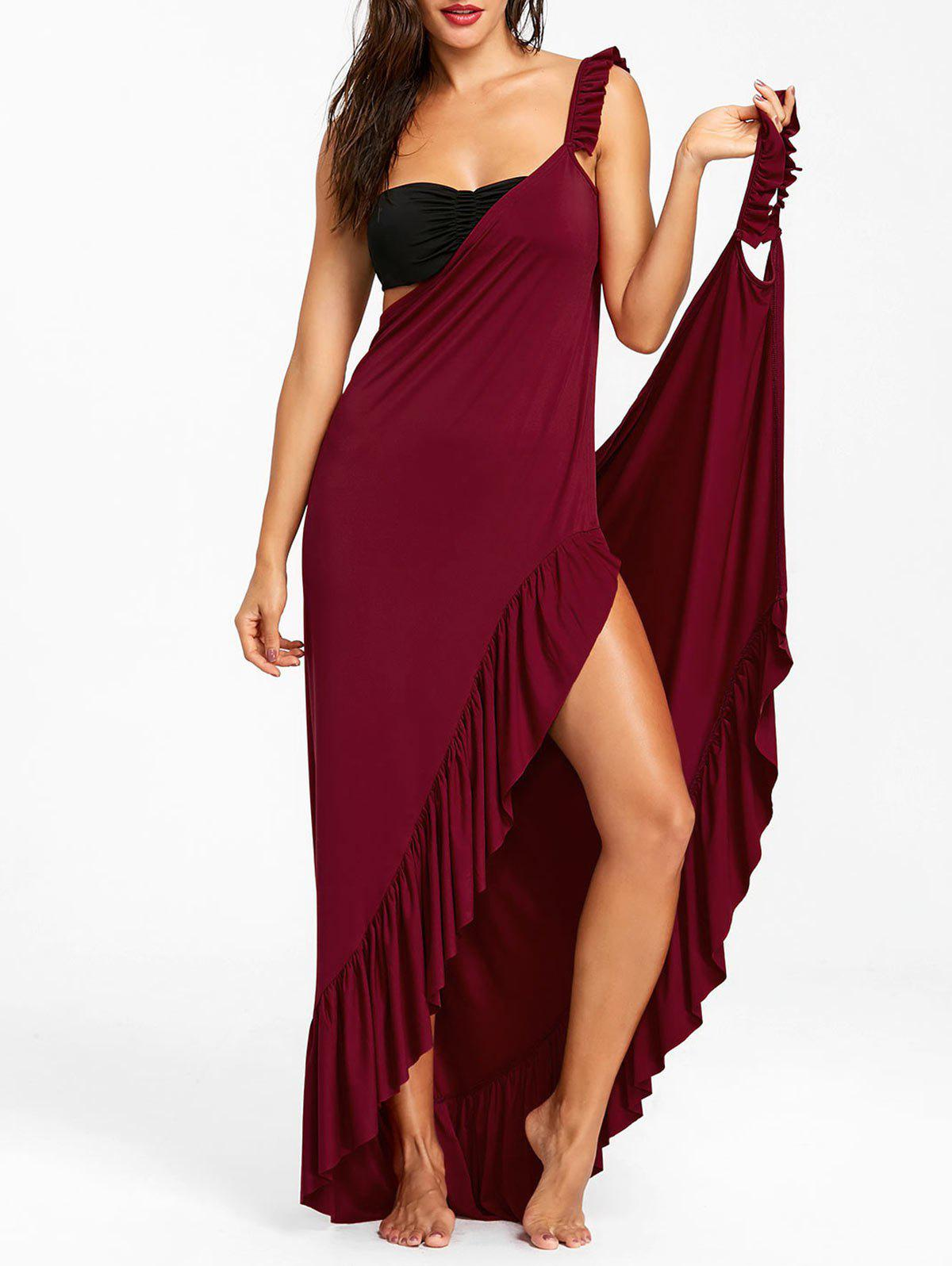 Wrap Flounce Beach Cover Up Dress - RED WINE M