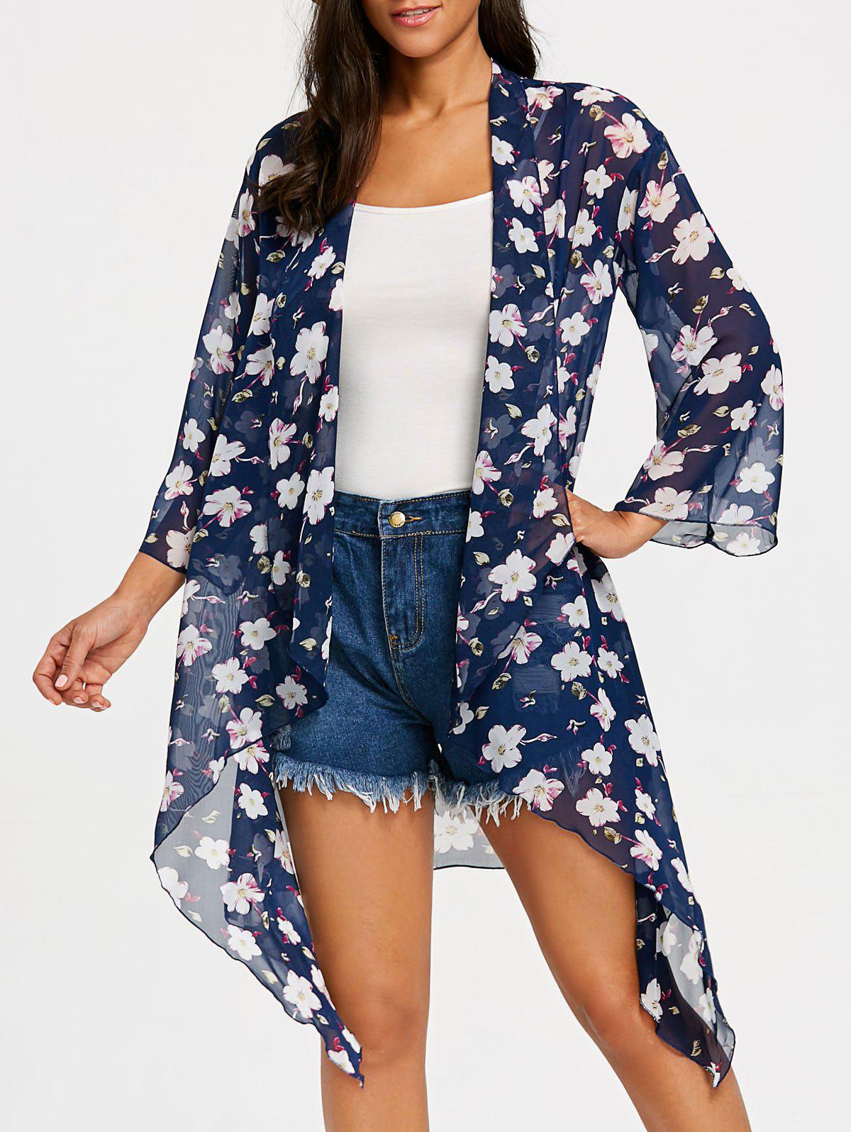 Floral See Through Chiffon Cover Up Kimono - BLUE XL