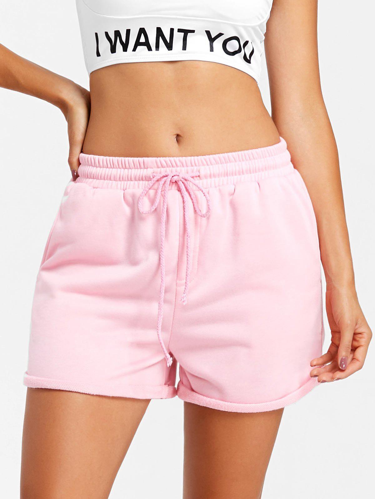 Cuffed Drawstring Jogging Shorts - PINK L
