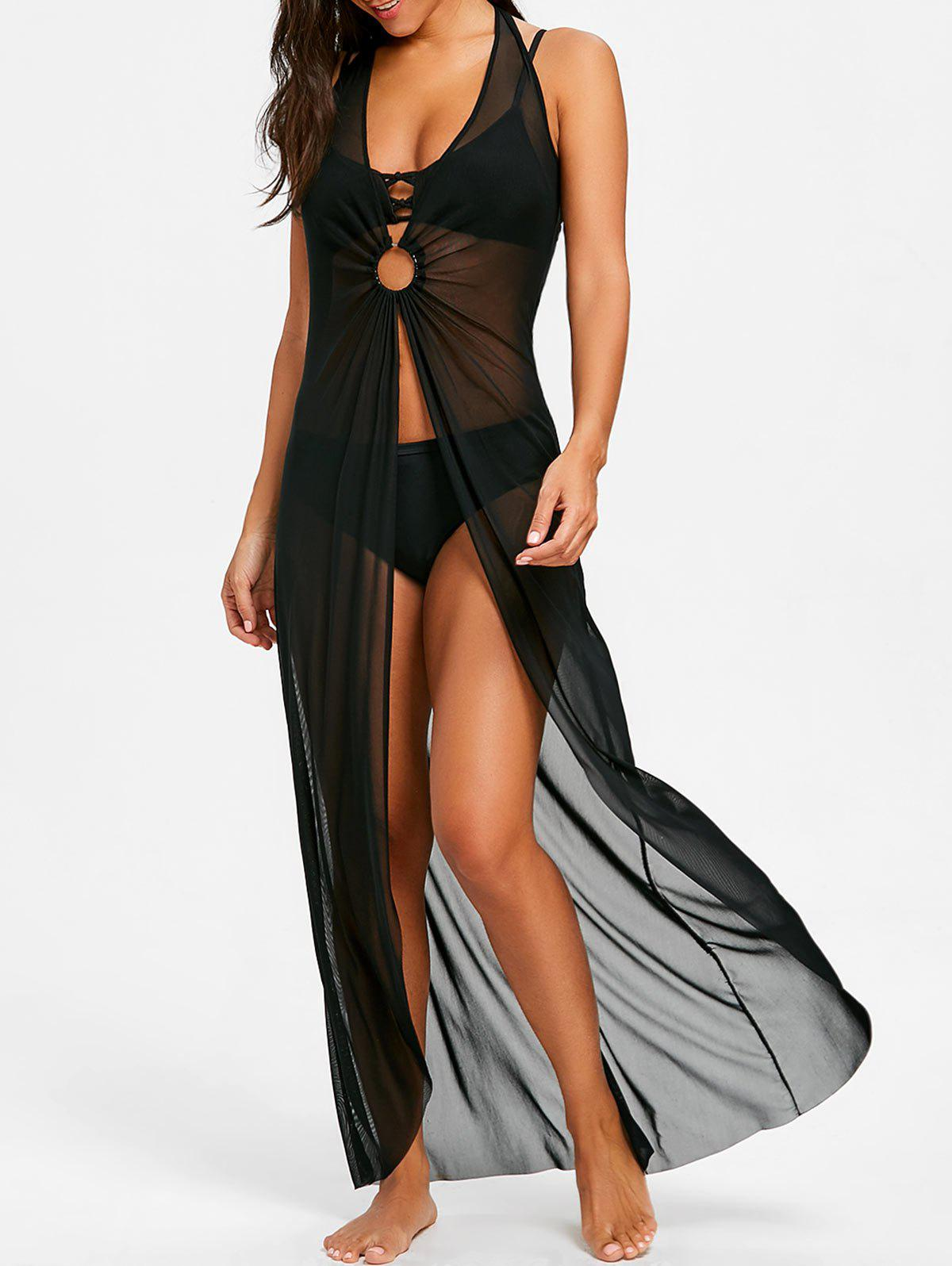 Sleeveless Maxi Cover Up Dress with Hoop - BLACK XL