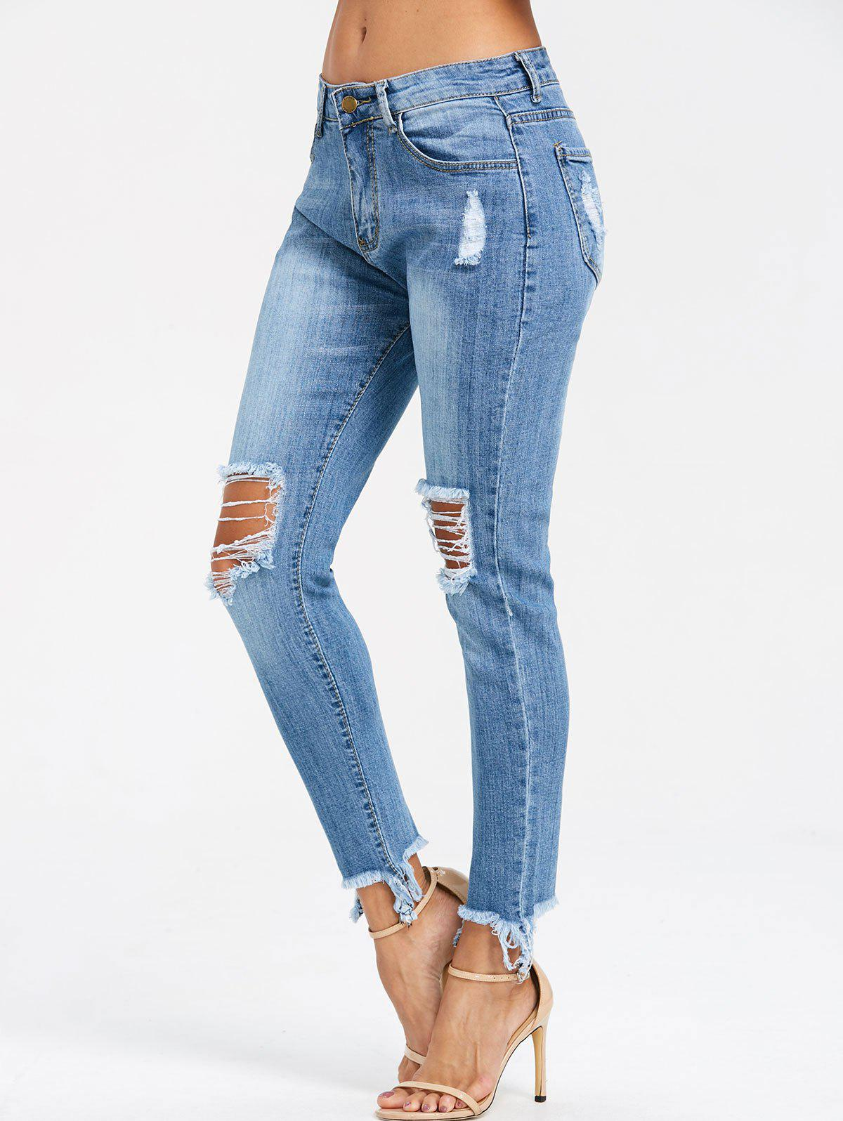 Frayed Knee Distressed Skinny Jeans - DENIM BLUE M
