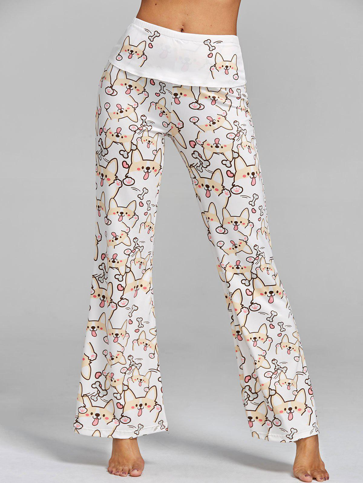 High Waisted Dog Print Wide Leg Pants - WHITE L