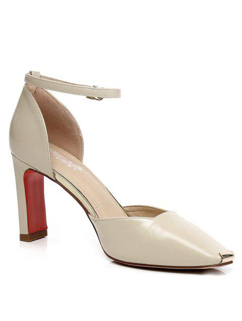 Lanbaoli High Heel Ankle Strap Pumps - BEIGE 39