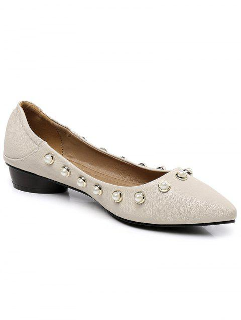 Lanbaoli Studded Pearl Pointed Toe Flat Shoes - BEIGE 39
