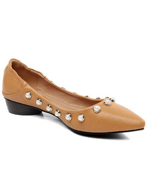 Lanbaoli Studded Pearl Pointed Toe Flat Shoes - BEE YELLOW 39