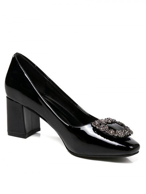 Lanbaoli Bright PU Leather Rhinestone Decorate High Heel Pumps - BLACK 38