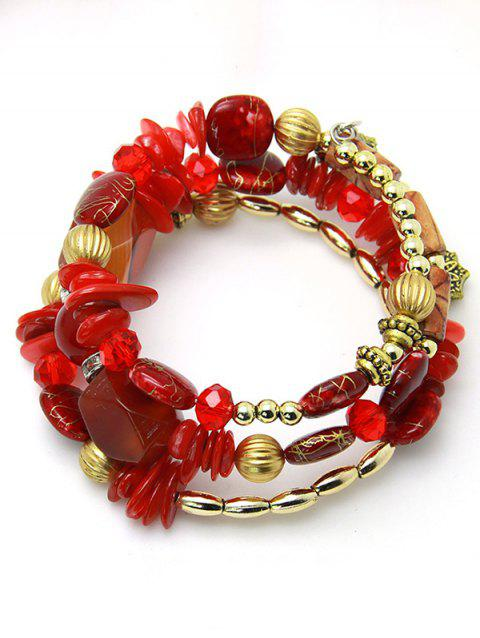 Bohemian Stones and Beads String Multilayer Bracelet - RED