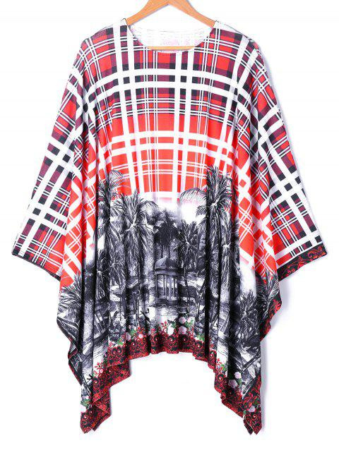 Asymmetrical Batwing Sleeve Plaid Printed Blouse - COLORMIX XL