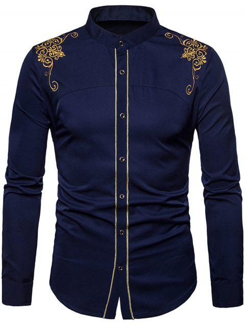 Floral Embroidered Edging Shirt - MIDNIGHT BLUE XL