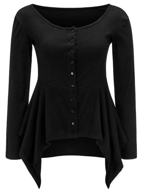 Button Up Asymmetric Long Sleeve Top - BLACK L