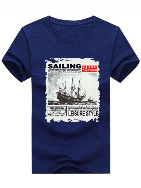 Short Sleeve Crew Neck Boat Letter Printed T-shirt - EARTH BLUE 4XL