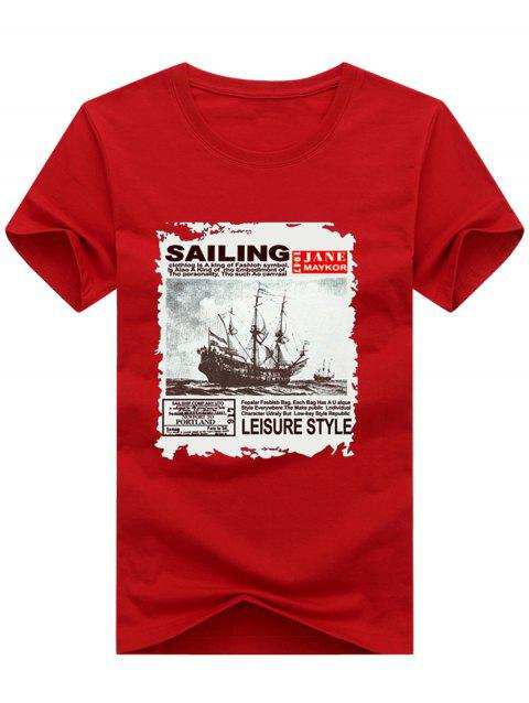 Short Sleeve Crew Neck Boat Letter Printed T-shirt - LOVE RED 3XL
