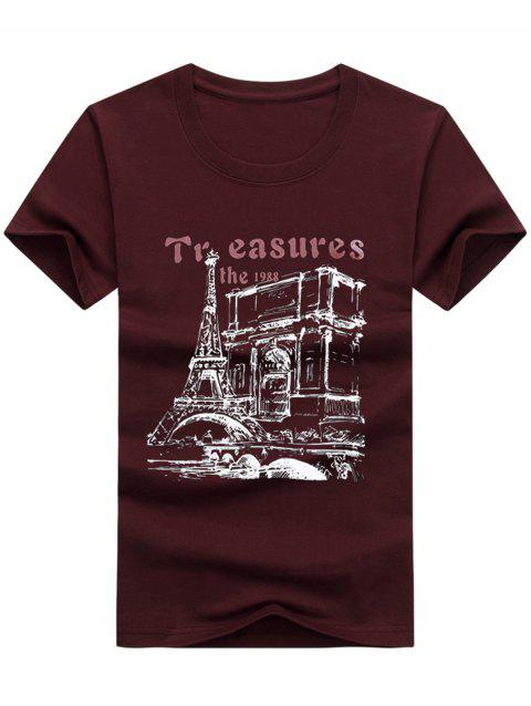 Crew Neck Tower Pattern T-shirt - RED WINE 2XL