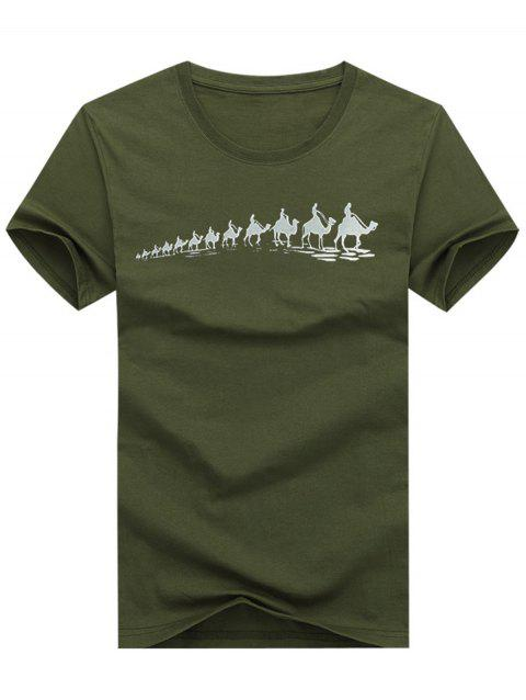 A Row of Camels Print T-shirt - ARMY BROWN 2XL