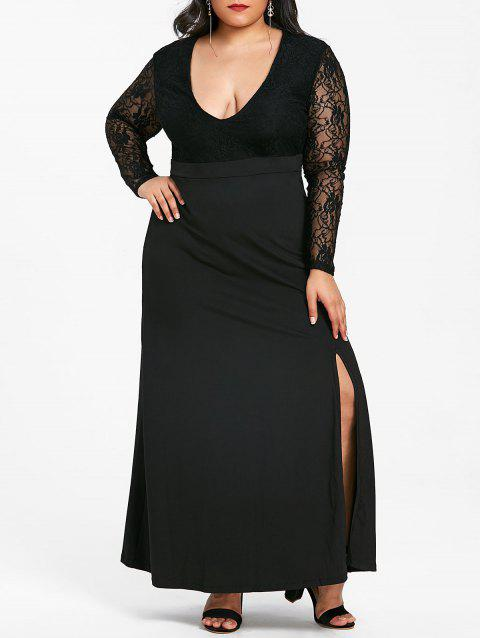 Plus Size Slit Plunging Neck Maxi Dress - BLACK 4XL