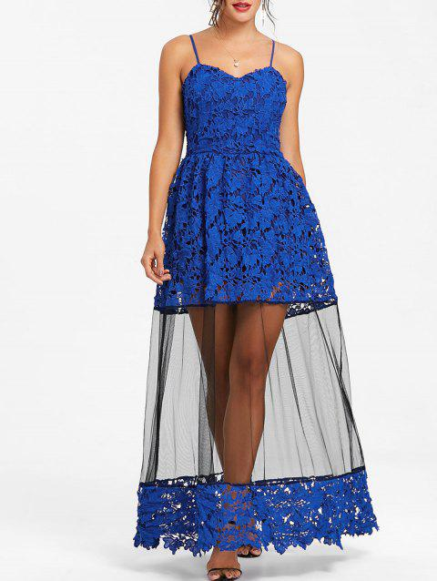 Lace Formal Long Flare Dress - SAPPHIRE BLUE XL