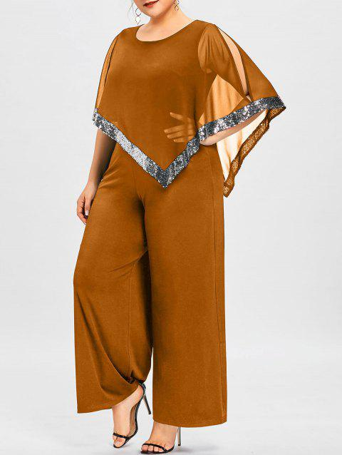Plus Size Overlay Sequined Wide Leg Jumpsuit - TANGERINE 5XL