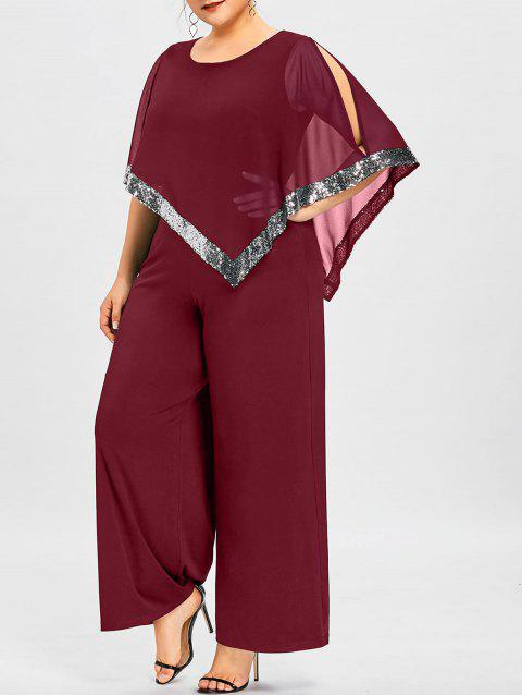 Plus Size Overlay Sequined Wide Leg Jumpsuit - WINE RED XL