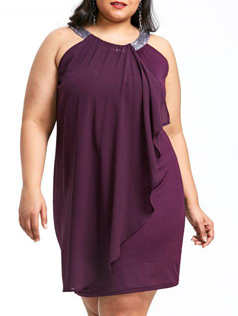 Plus Size Overlap Sleeveless Fitted Dress - PURPLE JAM 3XL