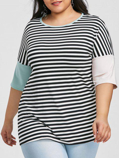 Round Neck Plus Size Striped T-shirt - BLACK 4XL