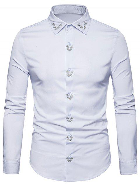 Flower Embroidery Shirt - WHITE 2XL