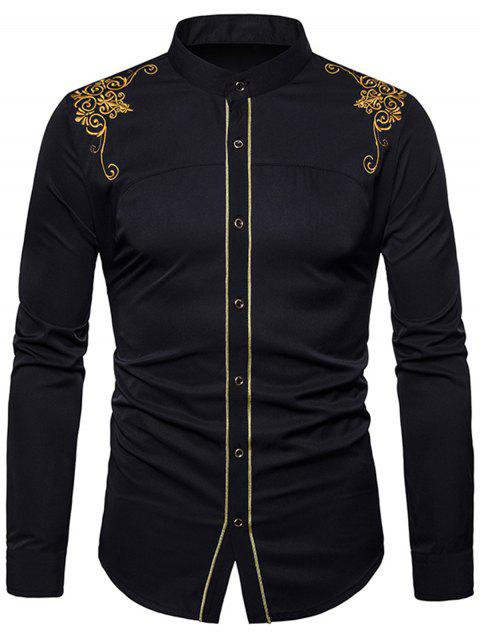 Floral Embroidered Edging Shirt - BLACK XL