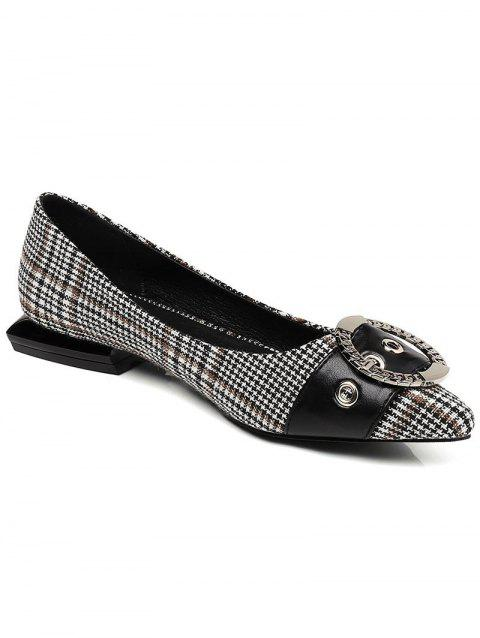 Lanbaoli Round Buckle Decor Geometric Flat Heel Shoes - BLACK 37