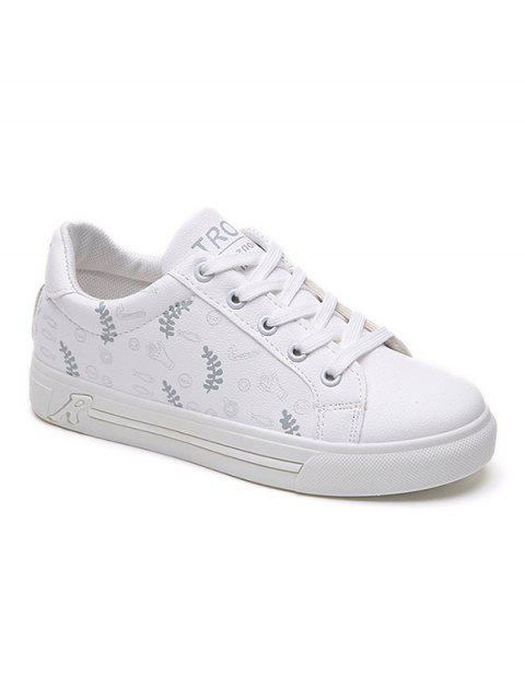 Faux Leather Casual Sneakers - SILVER 37