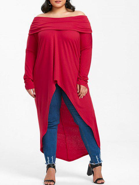 Plus Size Foldover High Low T-shirt - RED 2X