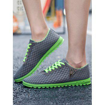 Two Tone Breathable V Print Casual Shoes - GRAY 40