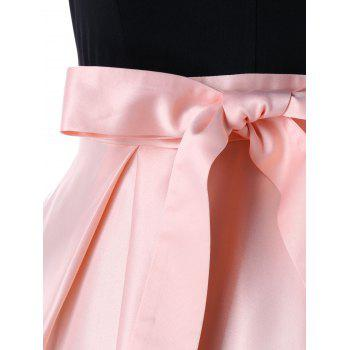 High Waisted Cocktail High Low Maxi Dress - PINK L