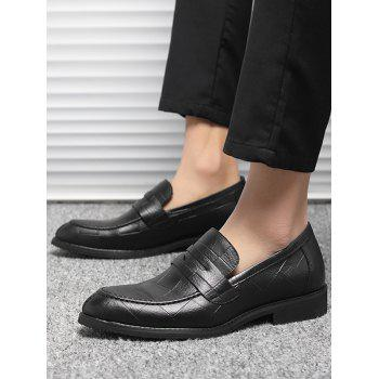 Plaid Pattern Slip On PU Leather Business Shoes - BLACK 43