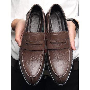 Plaid Pattern Slip On PU Leather Business Shoes - BROWN 43