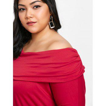 Plus Size Foldover High Low T-shirt - RED 3X