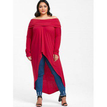 Plus Size Foldover High Low T-shirt - RED 5X
