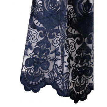 Cap Sleeve Plus Size Arab Lace Dress - NAVY BLUE 5XL