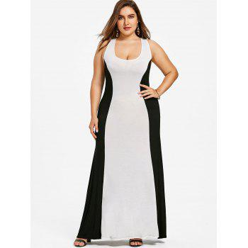 Plus Size Criss Cross Color Block Prom Dress - WHITE 5XL