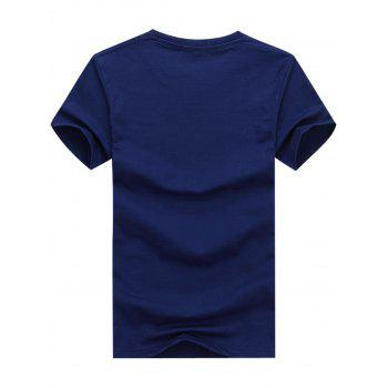 Short Sleeve Crew Neck Boat Letter Printed T-shirt - EARTH BLUE XL