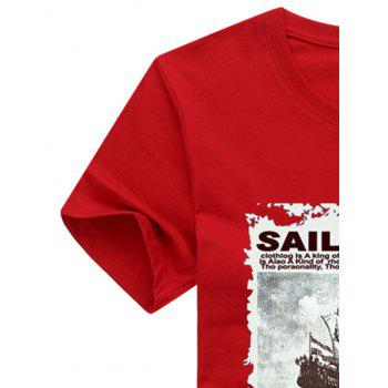 Short Sleeve Crew Neck Boat Letter Printed T-shirt - LOVE RED 2XL