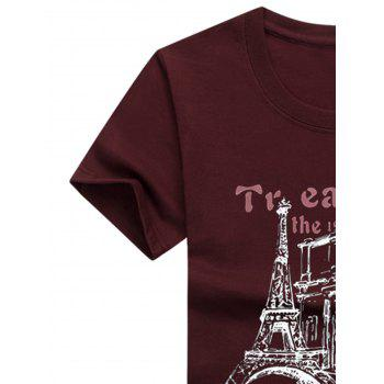 Crew Neck Tower Pattern T-shirt - RED WINE 5XL