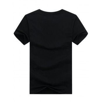 Climbing Man Printed Crew Neck T-shirt - BLACK L