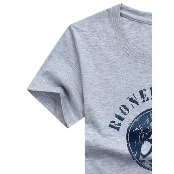Climbing Man Printed Crew Neck T-shirt - GRAY CLOUD 4XL