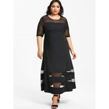Plus Size Mesh Panel Half Sleeve Maxi Dress - BLACK 7XL