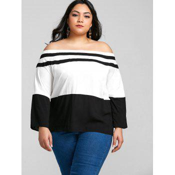 Plus Size Elastic Off The Shoulder Striped Tee - BLACK 4XL